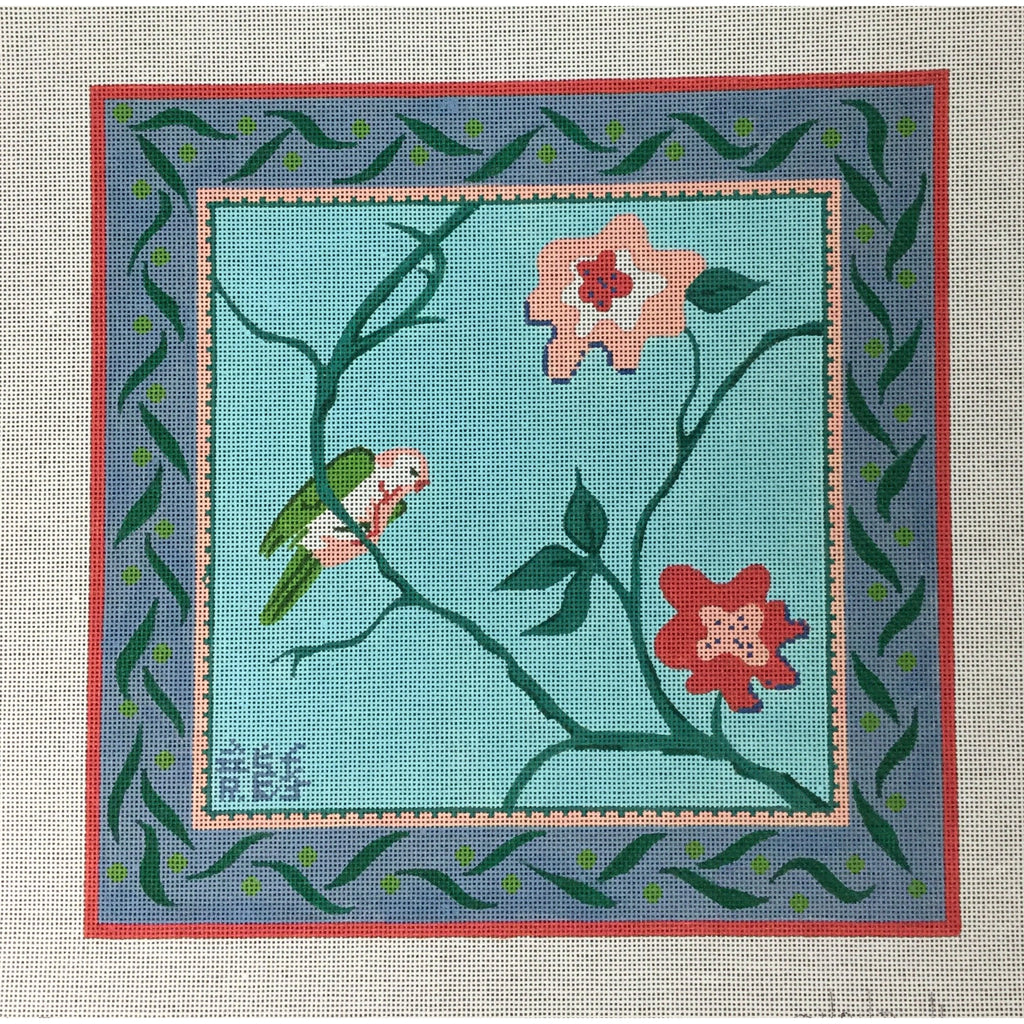 Parakeet with Flowers Needlepoint Canvas-Needlepoint Canvas-Kate Dickerson-13 mesh-KC Needlepoint