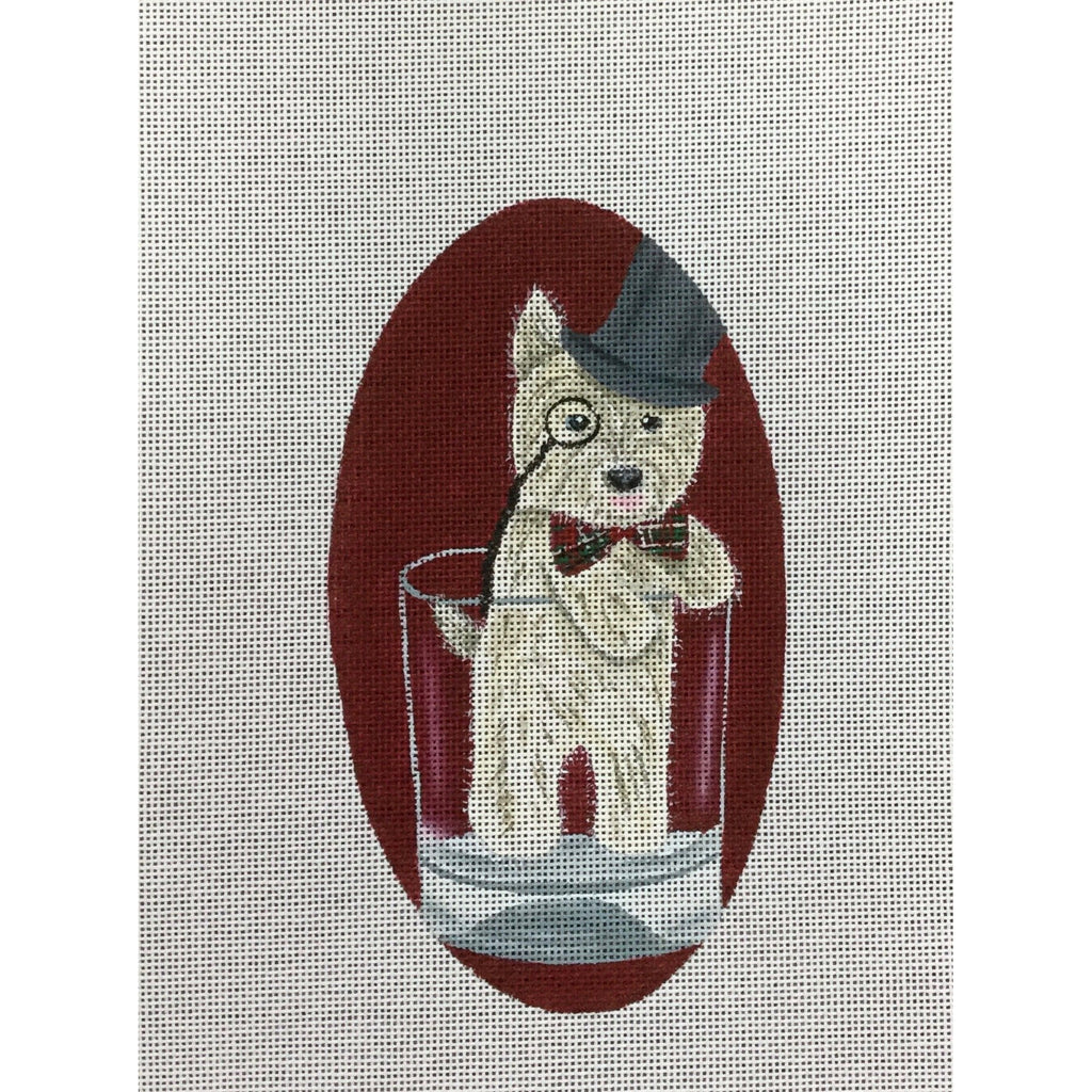 Dog in Drink Canvas - needlepoint