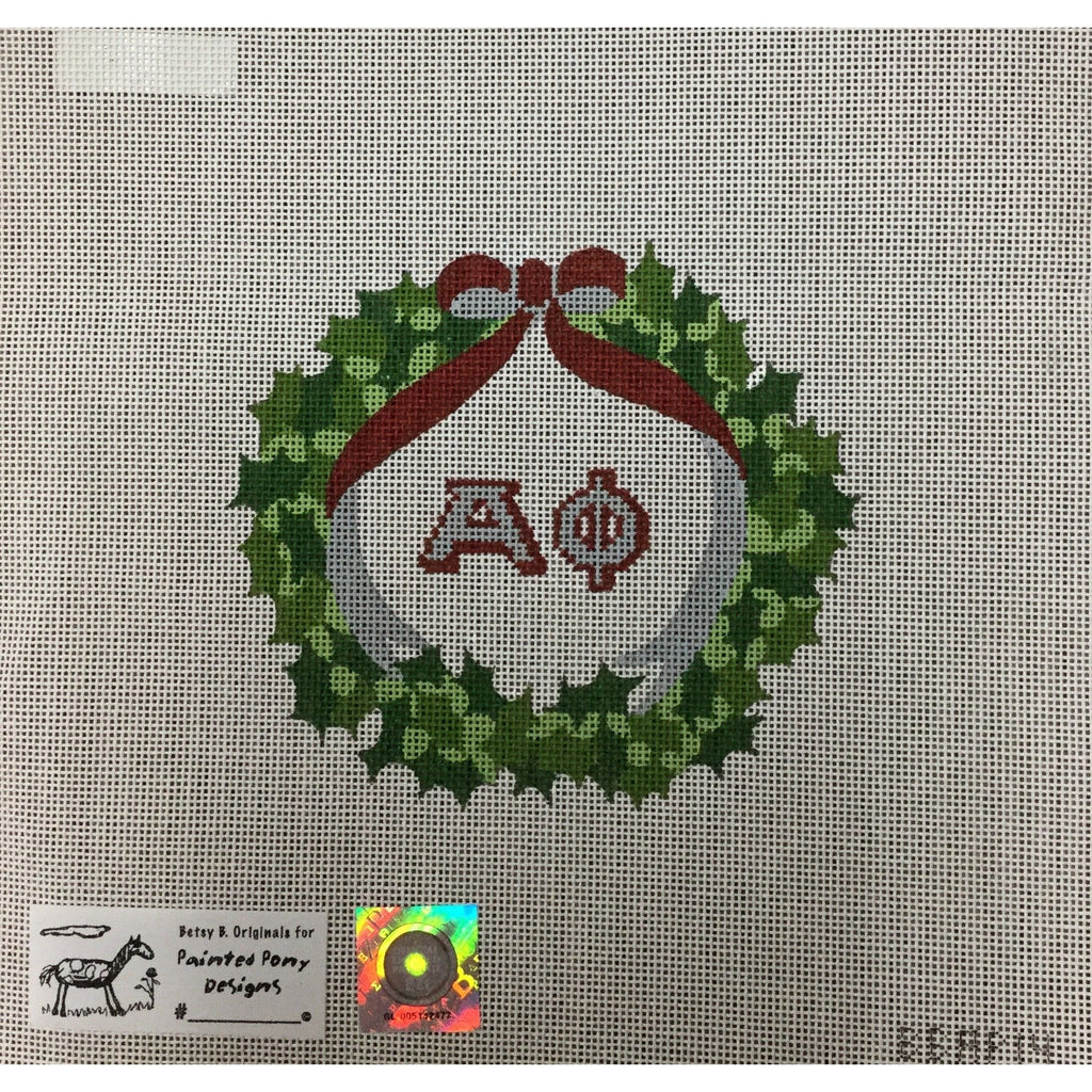 Alpha Phi Wreath Canvas - needlepoint