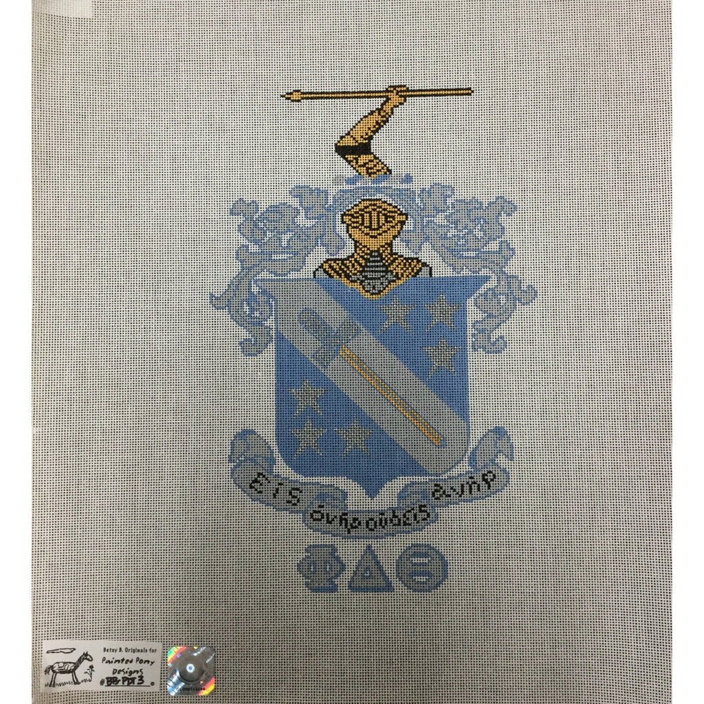 Phi Delta Theta Crest Canvas-Needlepoint Canvas-Painted Pony-KC Needlepoint