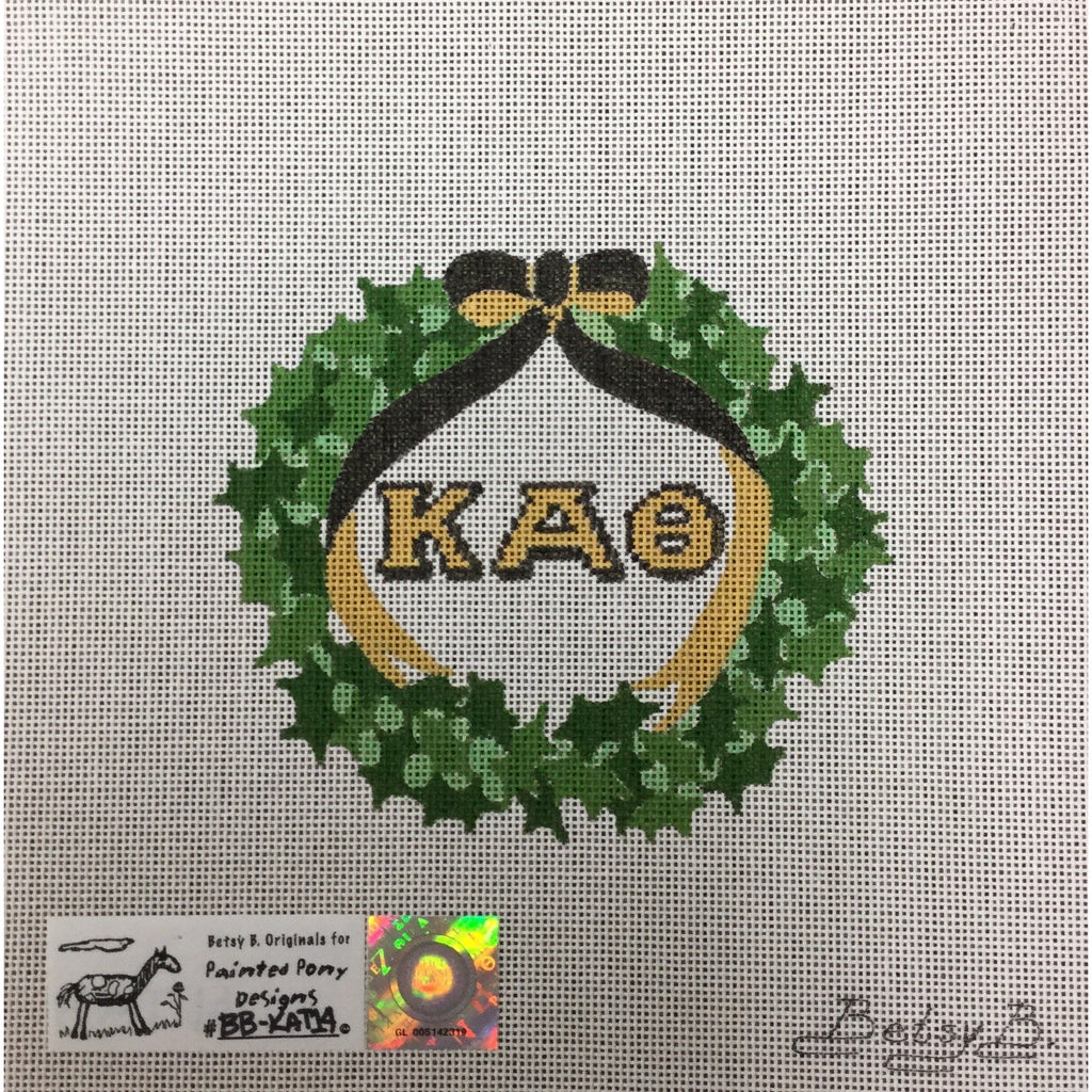Kappa Alpha Theta Wreath Canvas-Needlepoint Canvas-Painted Pony-KC Needlepoint
