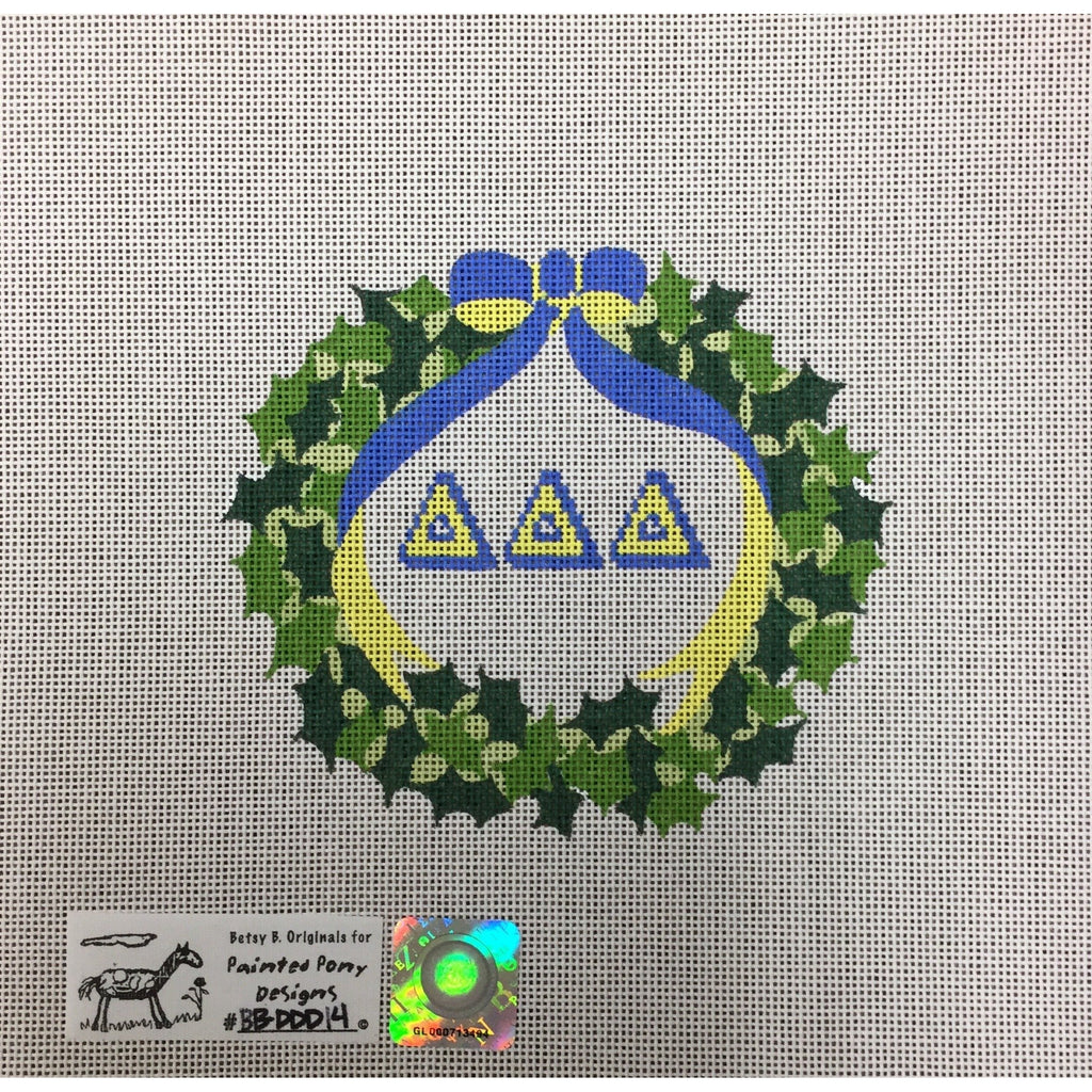 Delta Delta Delta Wreath Canvas - needlepoint
