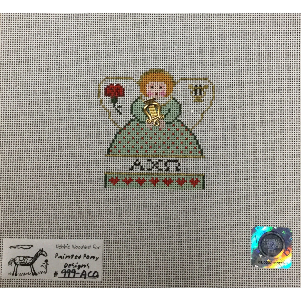 Alpha Chi Omega Angel Canvas-Needlepoint Canvas-Painted Pony-KC Needlepoint