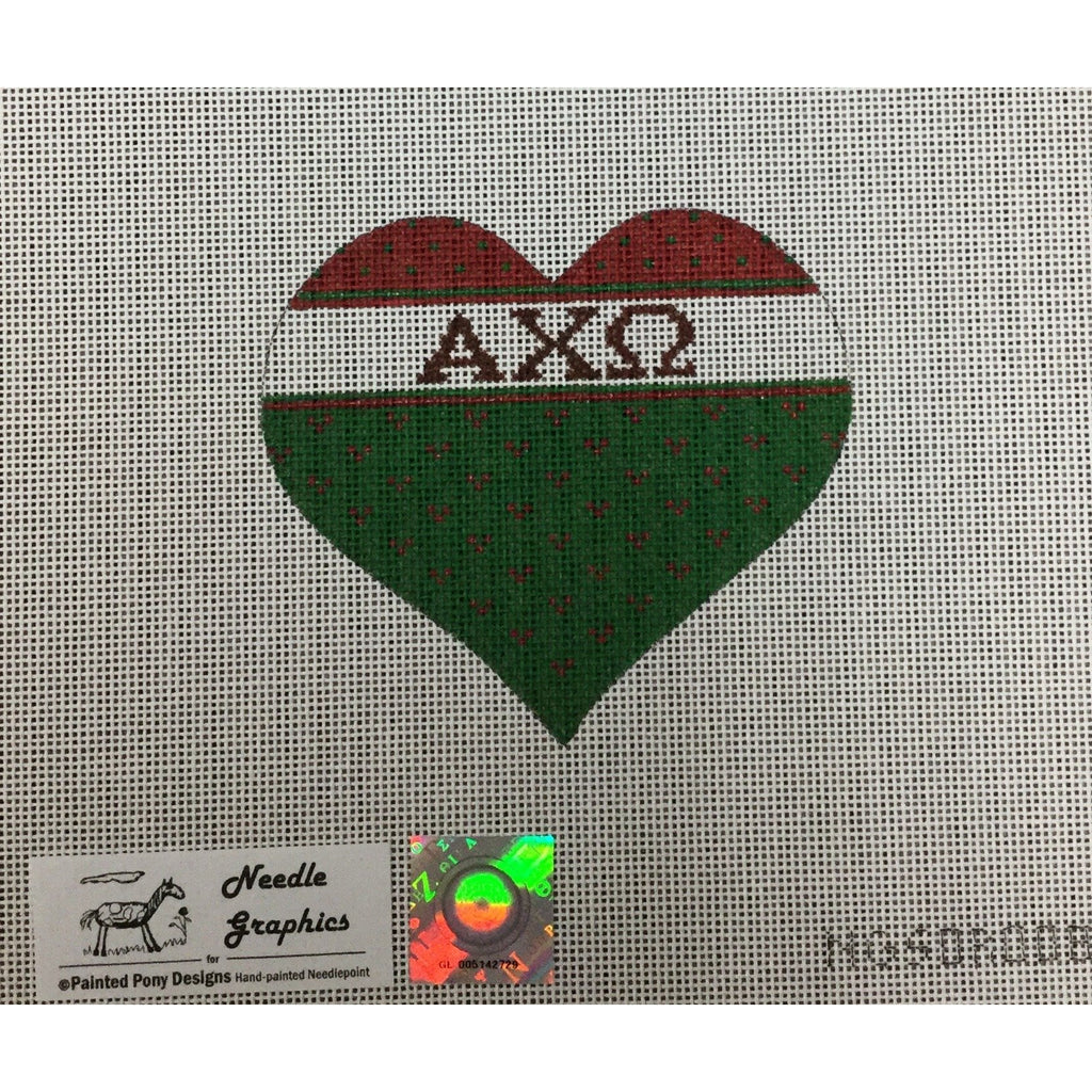 Alpha Chi Omega Heart Canvas-Needlepoint Canvas-Painted Pony-KC Needlepoint