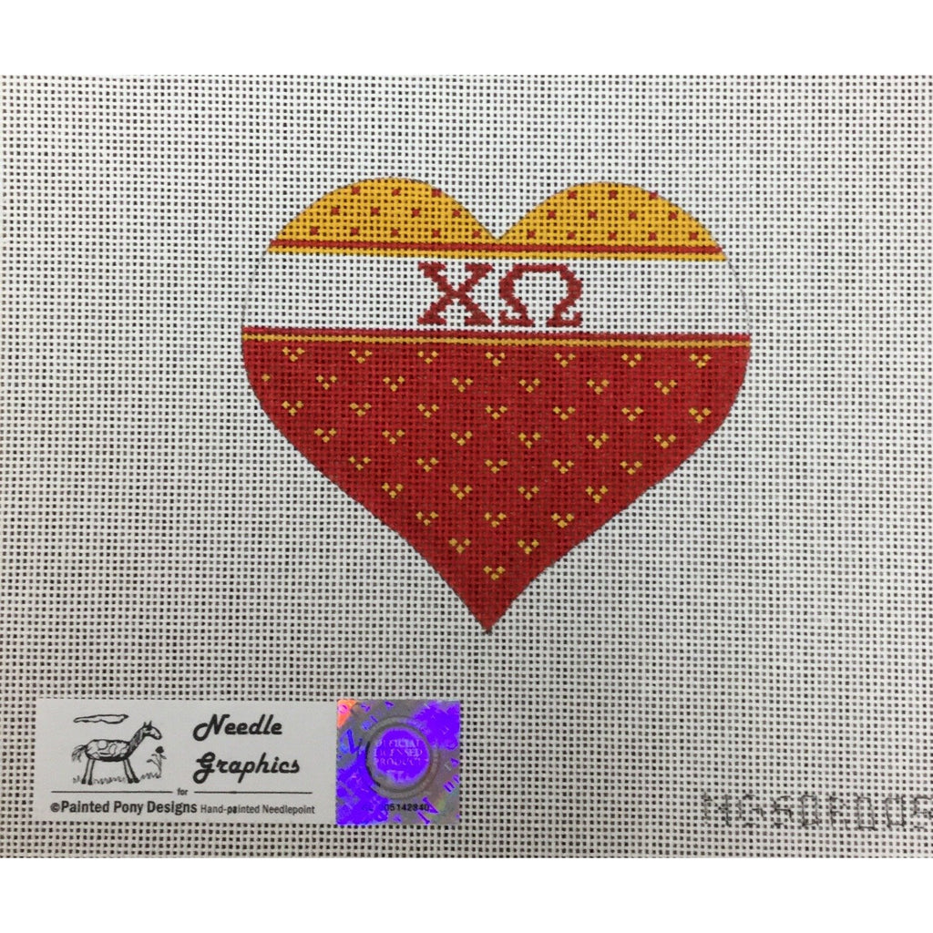 Chi Omega Heart Canvas-Painted Pony-KC Needlepoint