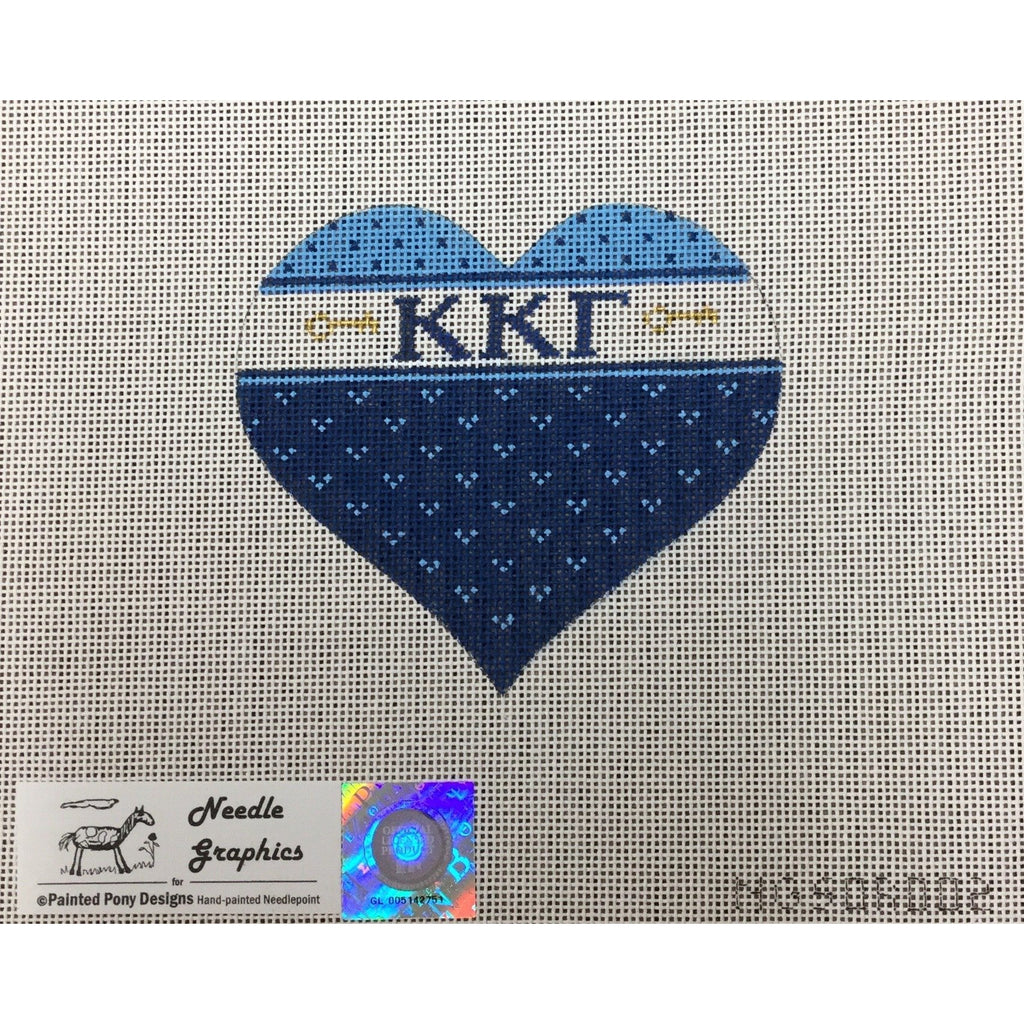 Kappa Kappa Gamma Heart Canvas-Painted Pony-KC Needlepoint
