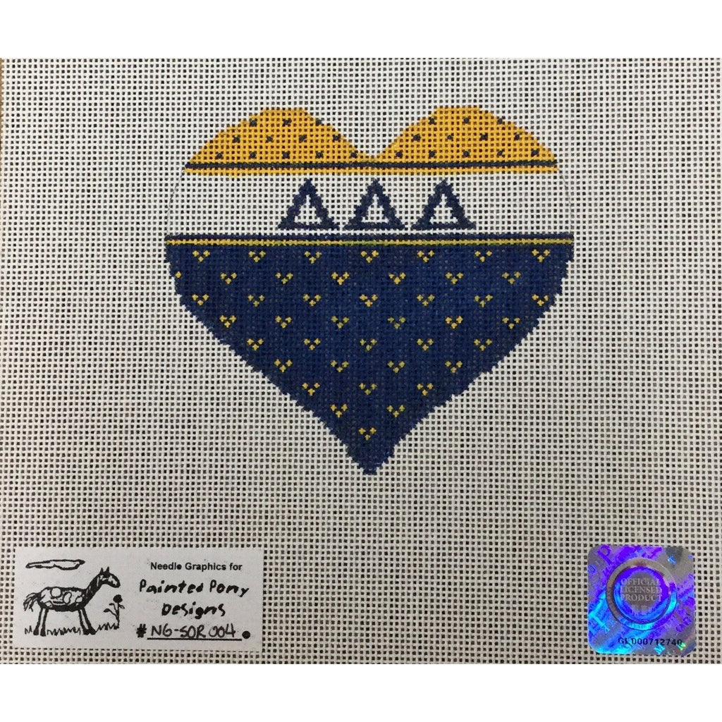 Delta Delta Delta Heart Canvas - needlepoint