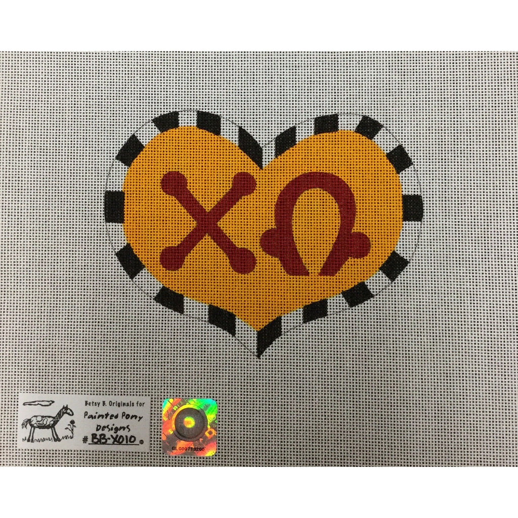 Chi Omega Large Heart Canvas-Painted Pony-KC Needlepoint