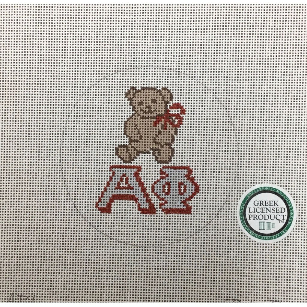 Alpha Phi Bear Canvas - needlepoint