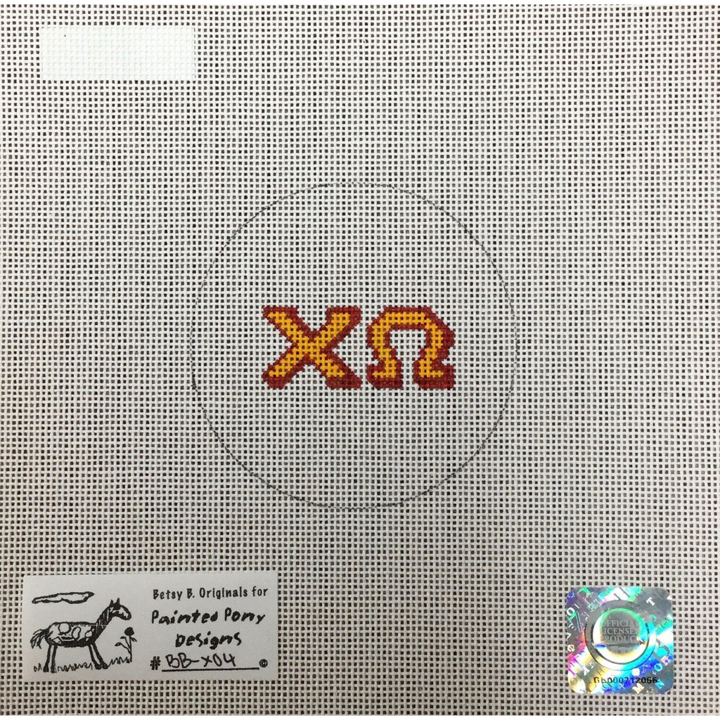 Chi Omega Round Canvas - needlepoint