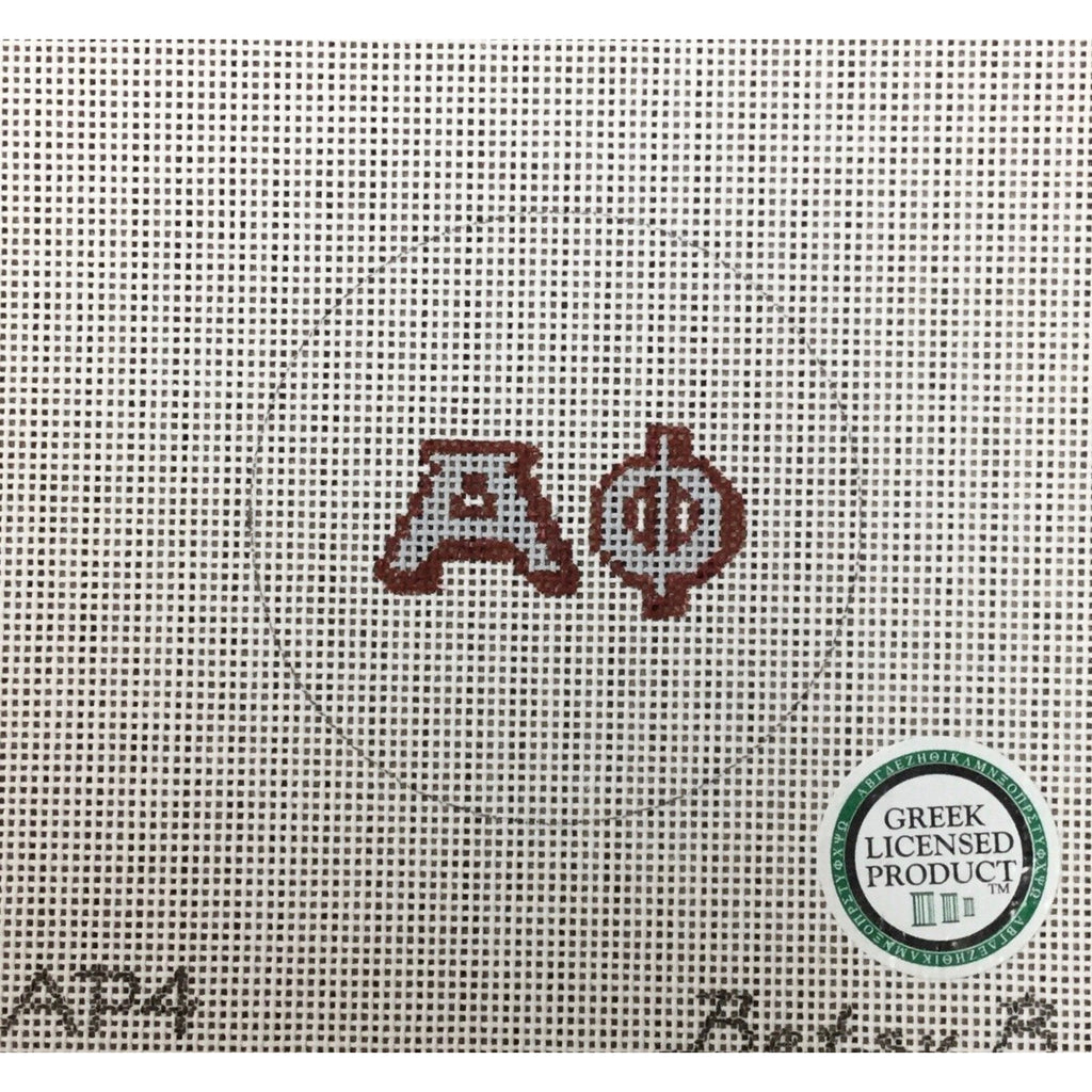Alpha Phi Round Canvas - needlepoint