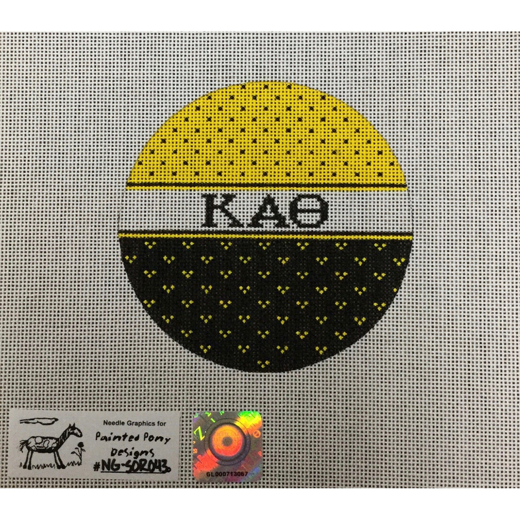 Kappa Alpha Theta Round Canvas - needlepoint