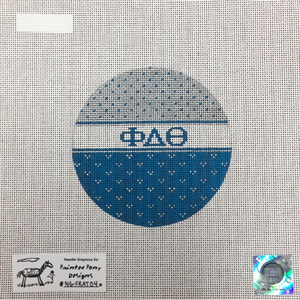 Phi Delta Theta Round Canvas-Needlepoint Canvas-Painted Pony-KC Needlepoint
