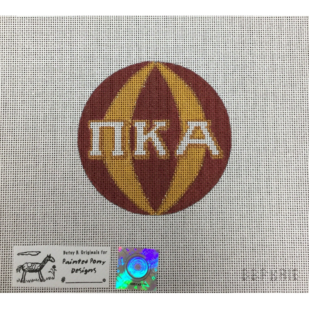 Pi Kappa Alpha Round Canvas-Needlepoint Canvas-Painted Pony-KC Needlepoint
