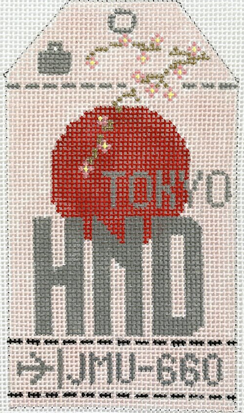 Tokyo Vintage Travel Tag Canvas - needlepoint
