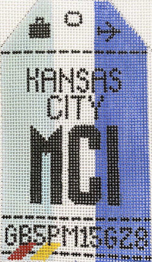 Kansas City Vintage Travel Tag Canvas - needlepoint