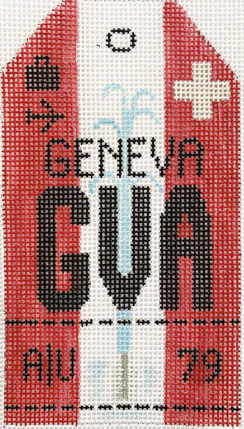 Geneva Vintage Travel Tag Canvas - needlepoint