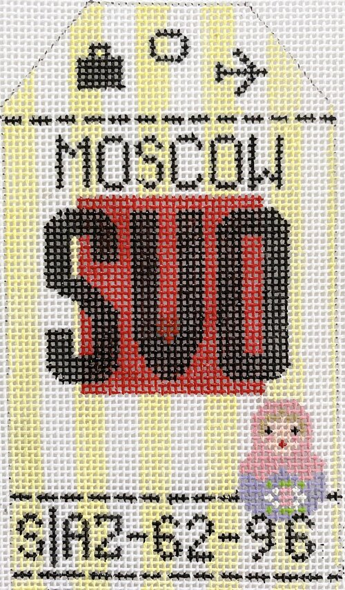 Moscow Vintage Travel Tag Canvas - needlepoint