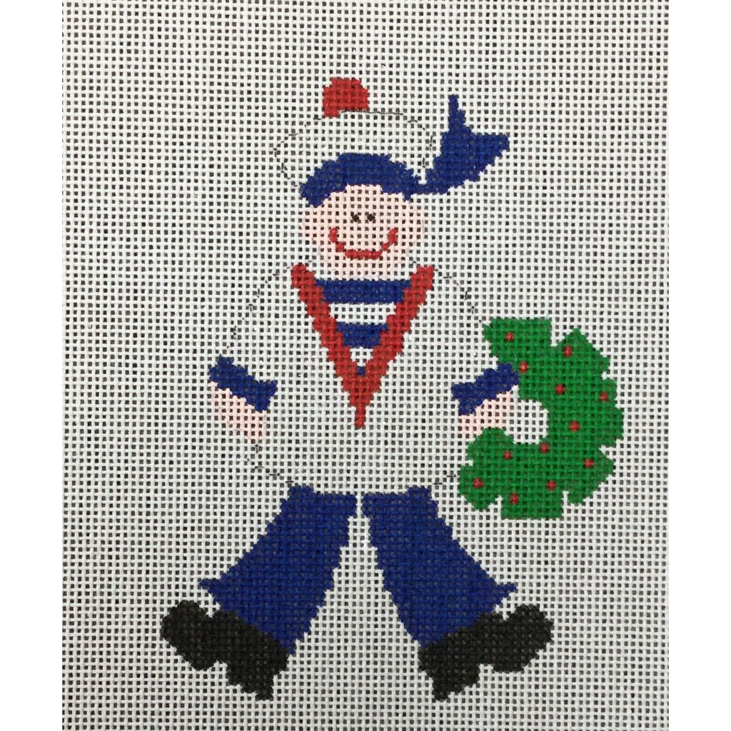 Sailor with Wreath Canvas-Needlepoint Canvas-Princess & Me-KC Needlepoint
