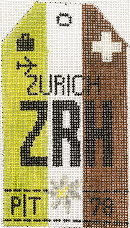 Zurich Vintage Travel Tag Canvas - needlepoint
