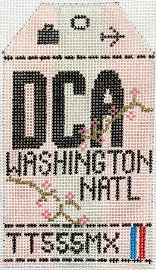 Washington National Vintage Travel Tag Canvas - needlepoint