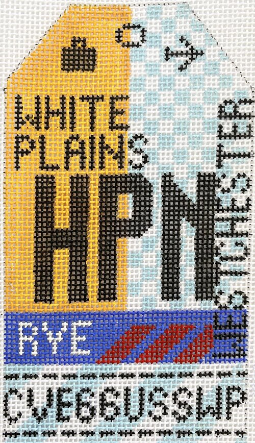 White Plains Vintage Travel Tag Canvas - needlepoint