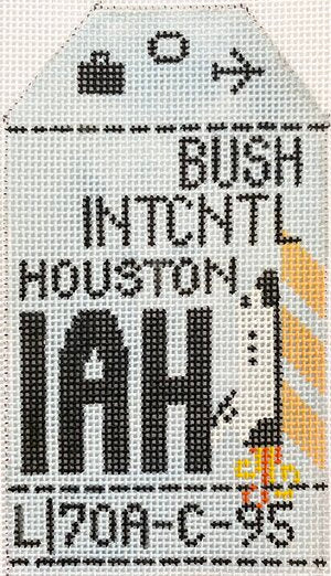 Houston Vintage Travel Tag Canvas - needlepoint