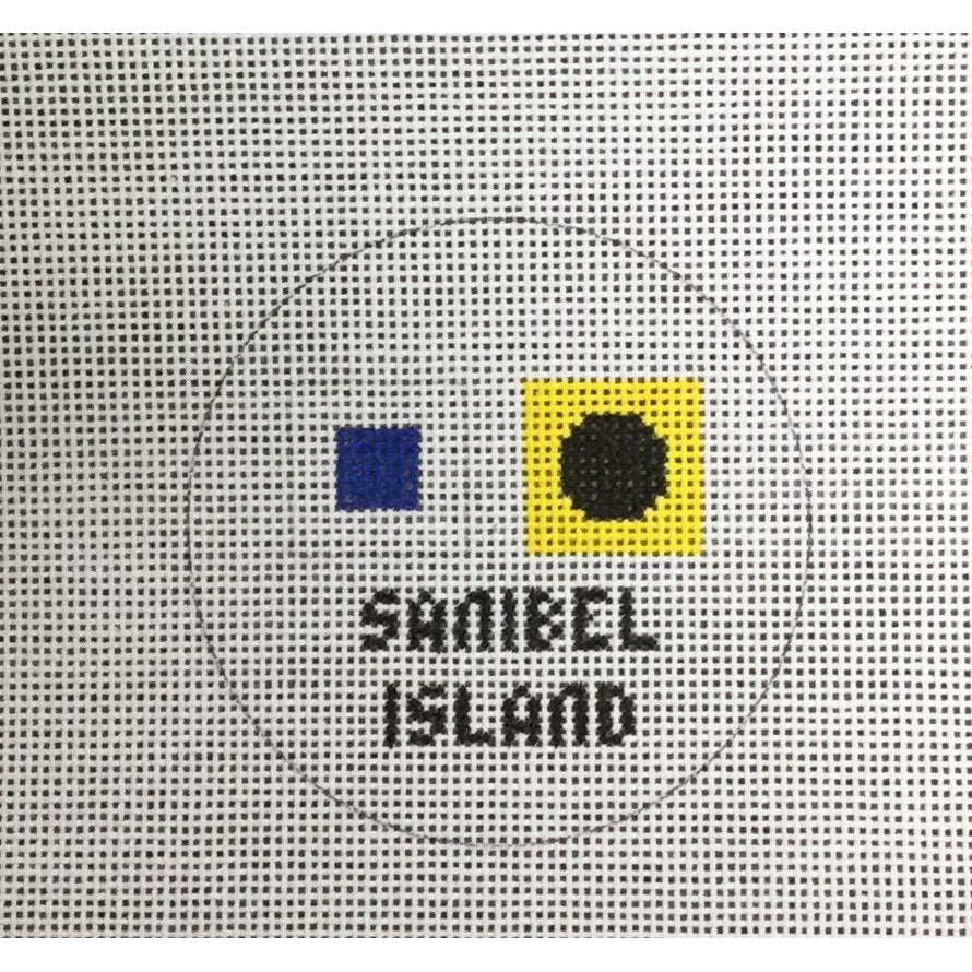 Sanibel Travel Round Canvas - needlepoint