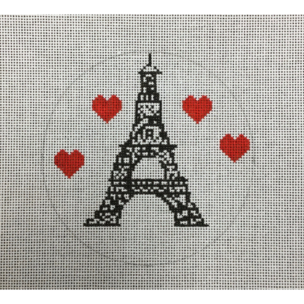 Eiffel Tower Round Canvas - needlepoint
