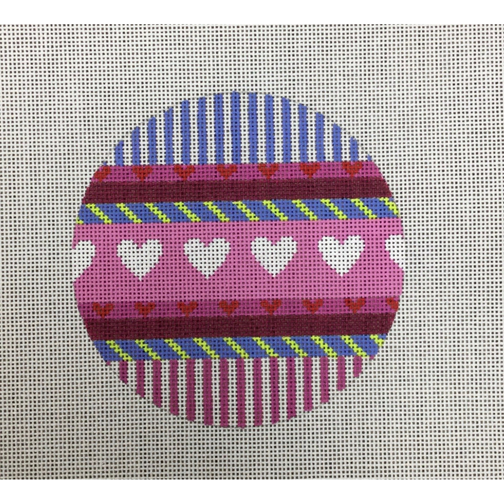 Hearts and Stripes Round Canvas-Needlepoint Canvas-KC Designs-KC Needlepoint