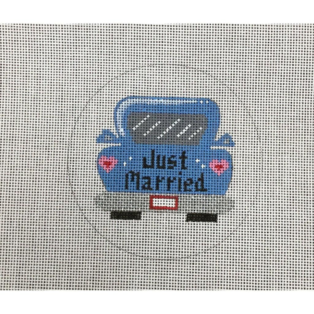 Just Married Car Round Canvas - needlepoint
