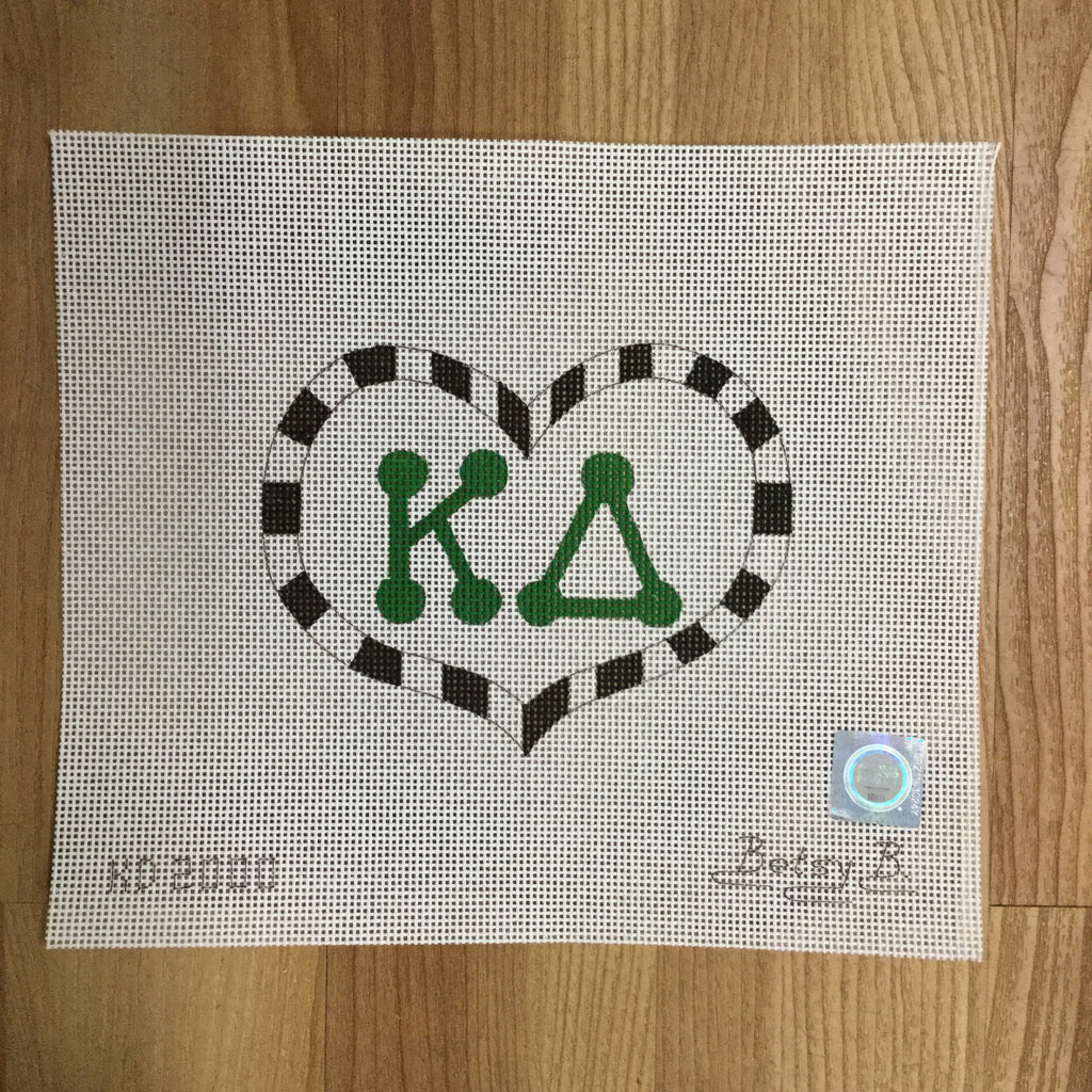 Kappa Delta Large Heart Canvas - needlepoint