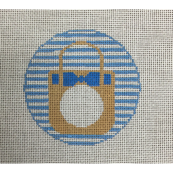 Straw Tote Round Canvas - needlepoint