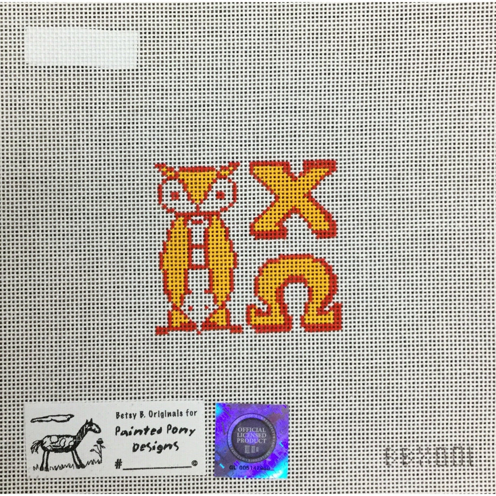 Chi Omega/Owl Canvas-Needlepoint Canvas-Painted Pony-KC Needlepoint