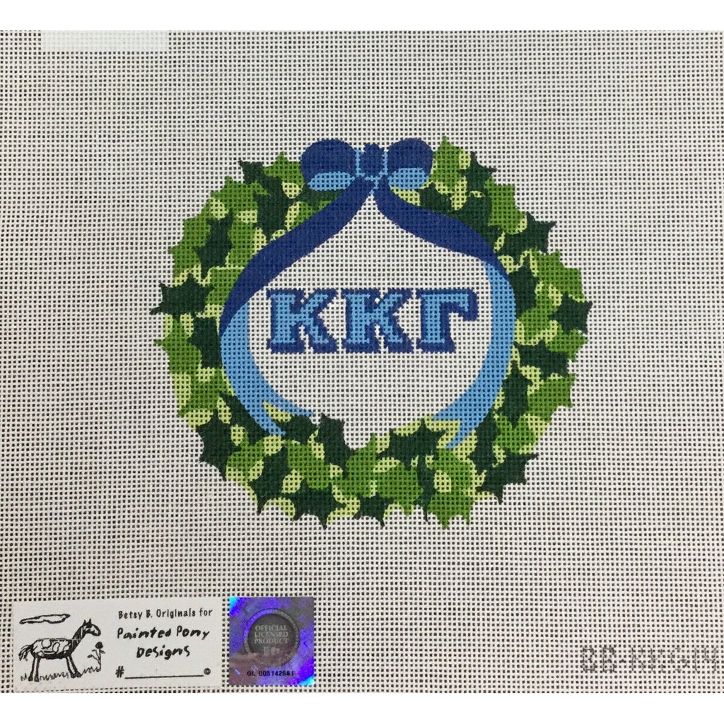 Kappa Kappa Gamma Wreath Canvas-Painted Pony-KC Needlepoint