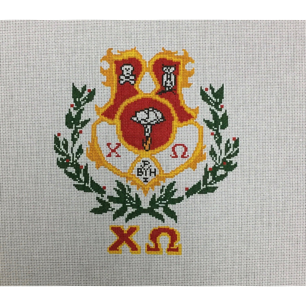 Chi Omega Crest Canvas-Painted Pony-KC Needlepoint