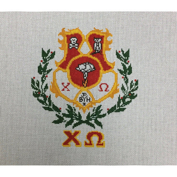Chi Omega Crest Canvas