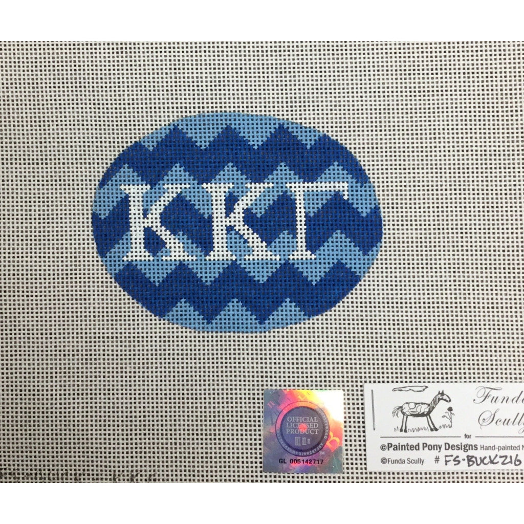Kappa Kappa Gamma Oval Canvas-Painted Pony-KC Needlepoint