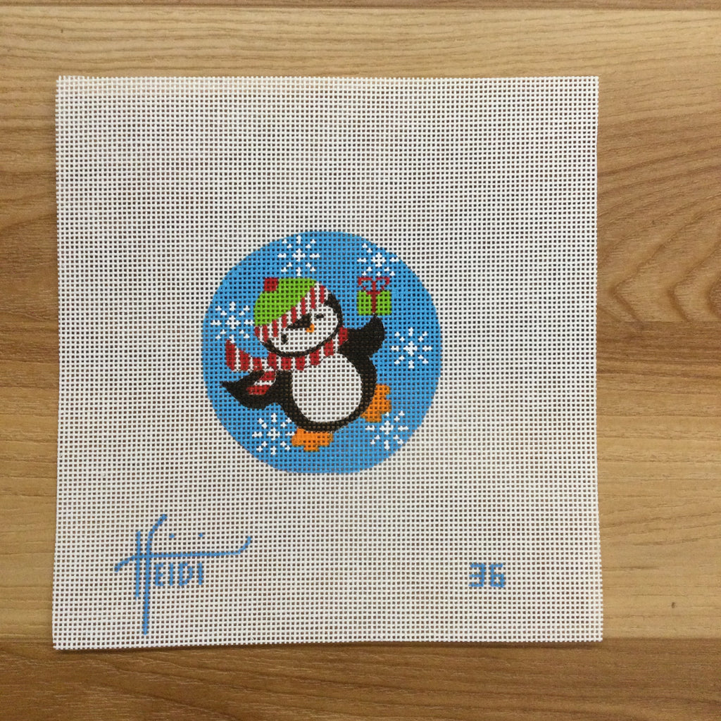 Penguin with Present Round Canvas - needlepoint
