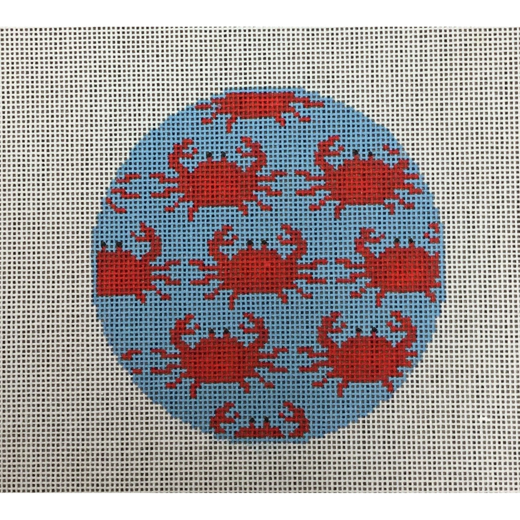 Crab Round Canvas - needlepoint