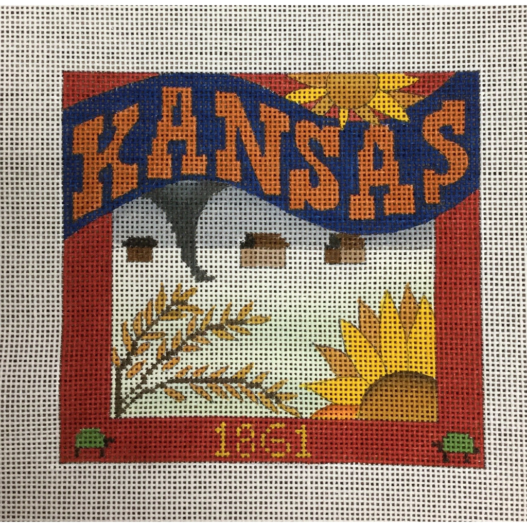 Kansas Travel Needlepoint Canvas-Needlepoint Canvas-Ewe & Eye-KC Needlepoint