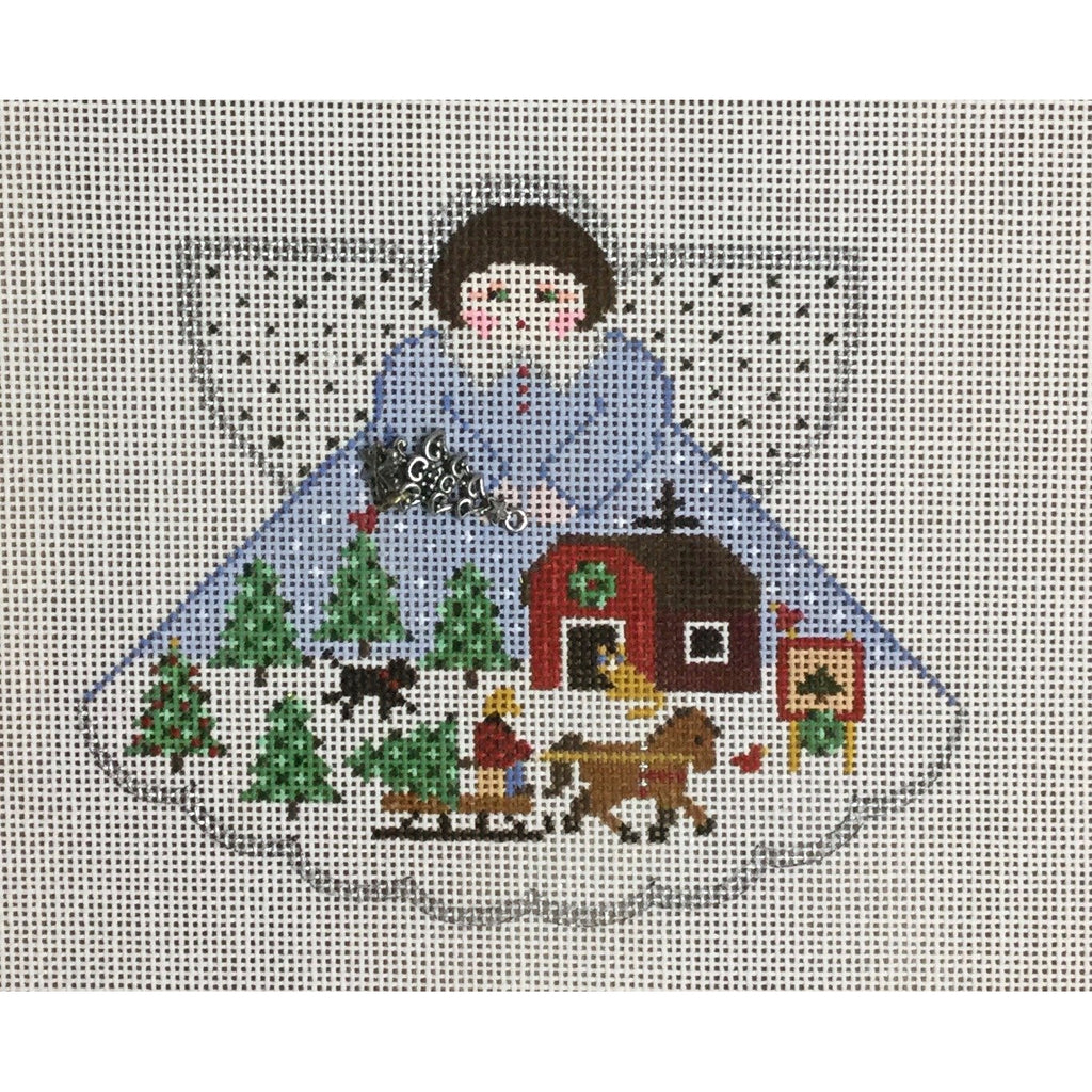 Tree Farm Angel Canvas-Needlepoint Canvas-Painted Pony-KC Needlepoint