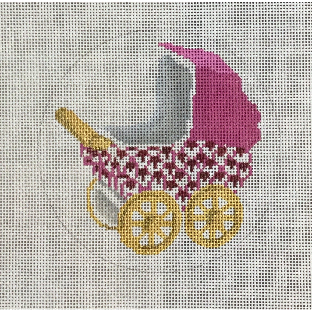 Pink Baby Buggy Canvas - KC Needlepoint