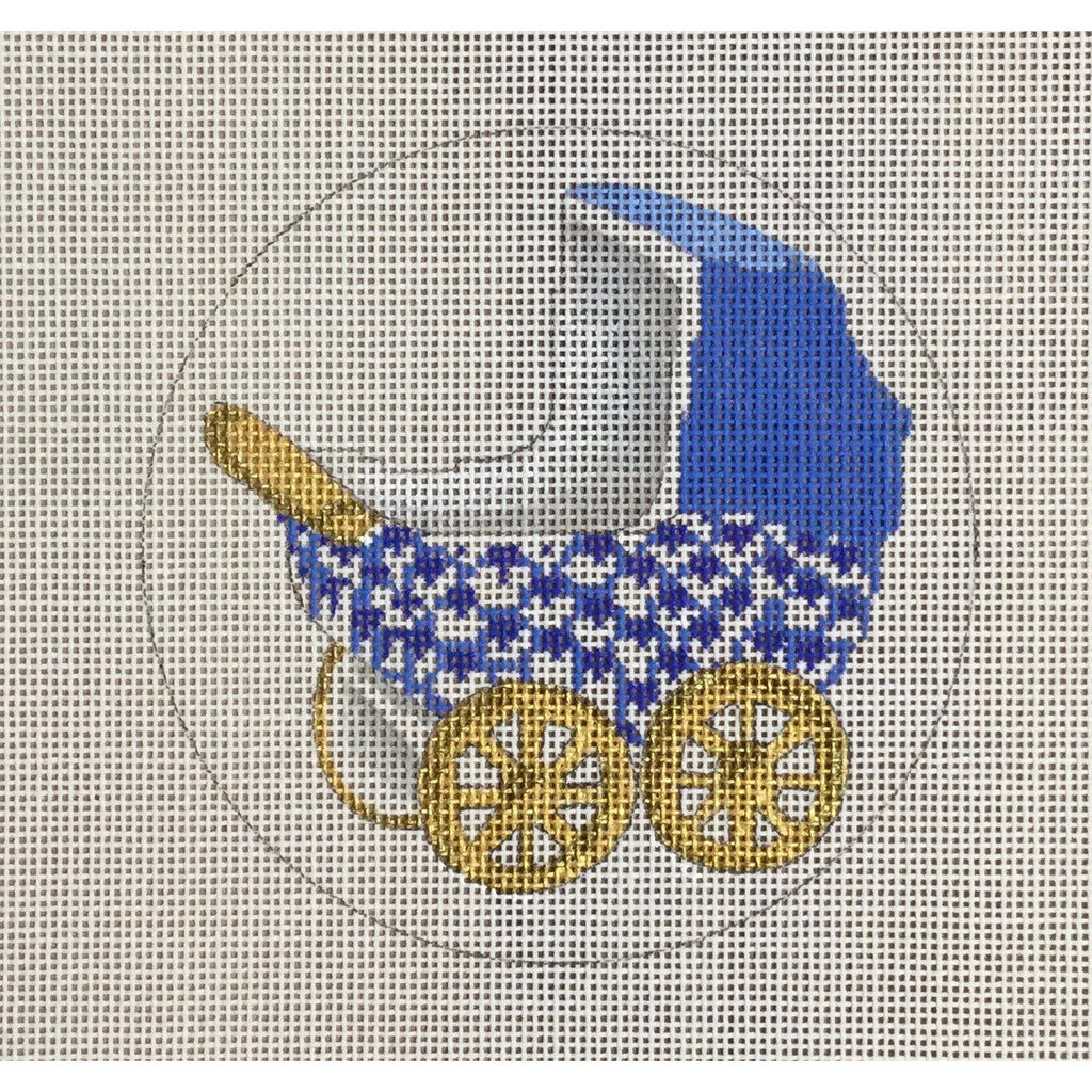 Blue Baby Buggy Canvas-CBK Needlepoint-KC Needlepoint