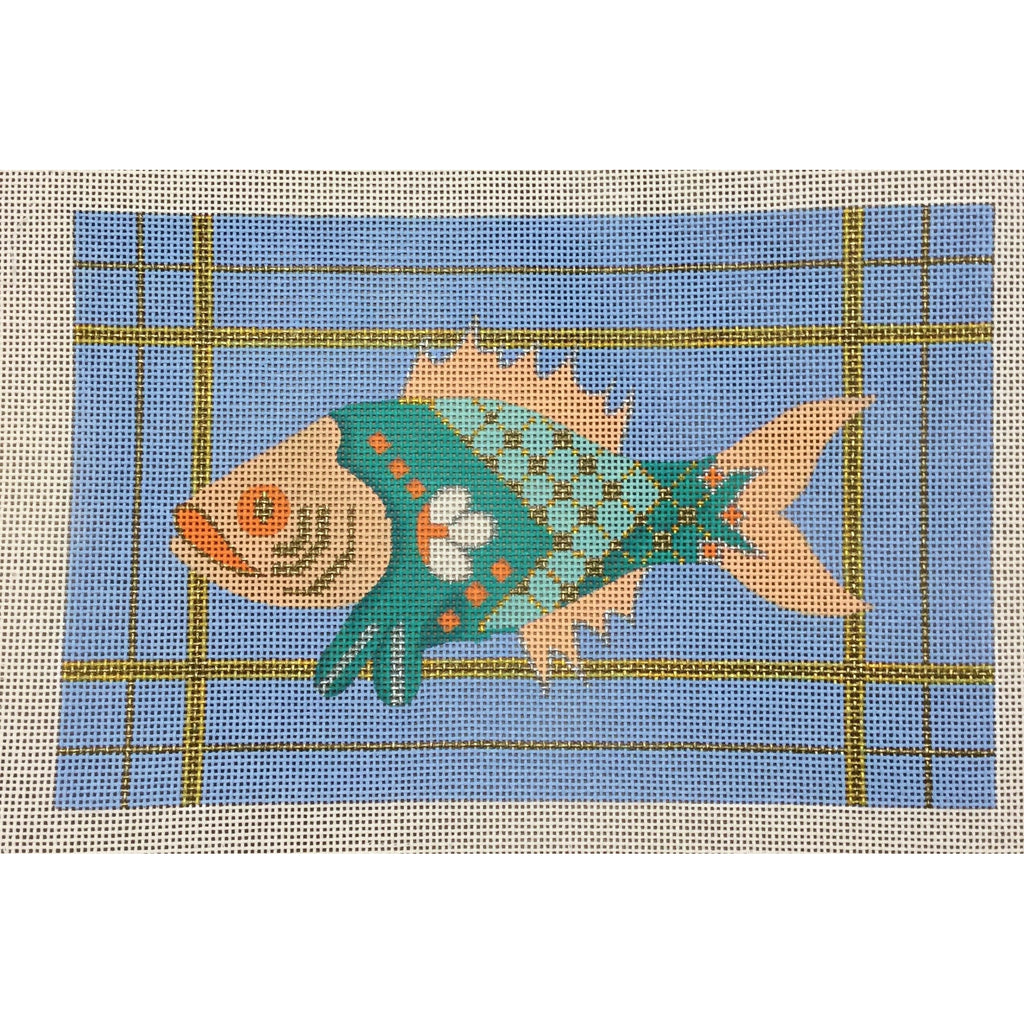 Fish with Border Canvas-Needlepoint Canvas-CBK Needlepoint-KC Needlepoint