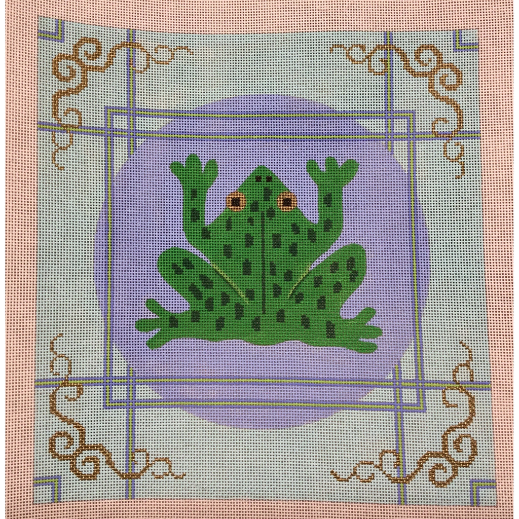 Frog with Border Canvas-Needlepoint Canvas-CBK Needlepoint-KC Needlepoint