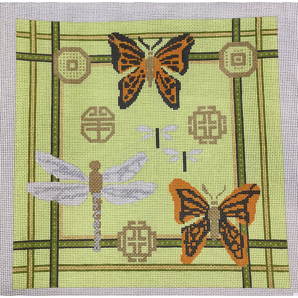 Dragonflies and Butterflies Canvas-Needlepoint Canvas-CBK Needlepoint-KC Needlepoint
