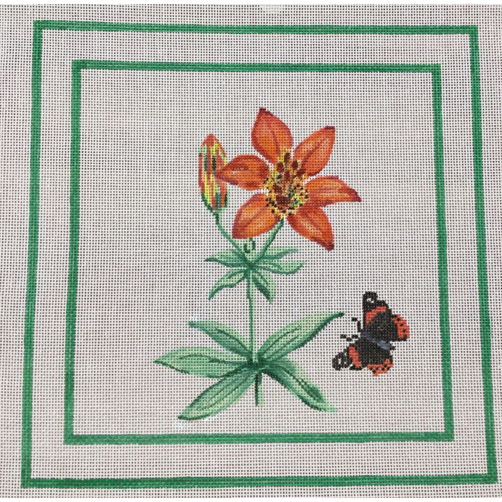 Orange Lily and Butterfly Canvas - KC Needlepoint