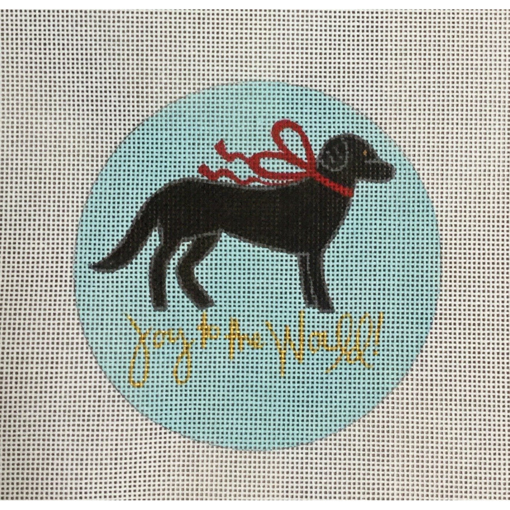 Joy to the World Dog Canvas-Needlepoint Canvas-A Poore Girl Paints-Black-KC Needlepoint
