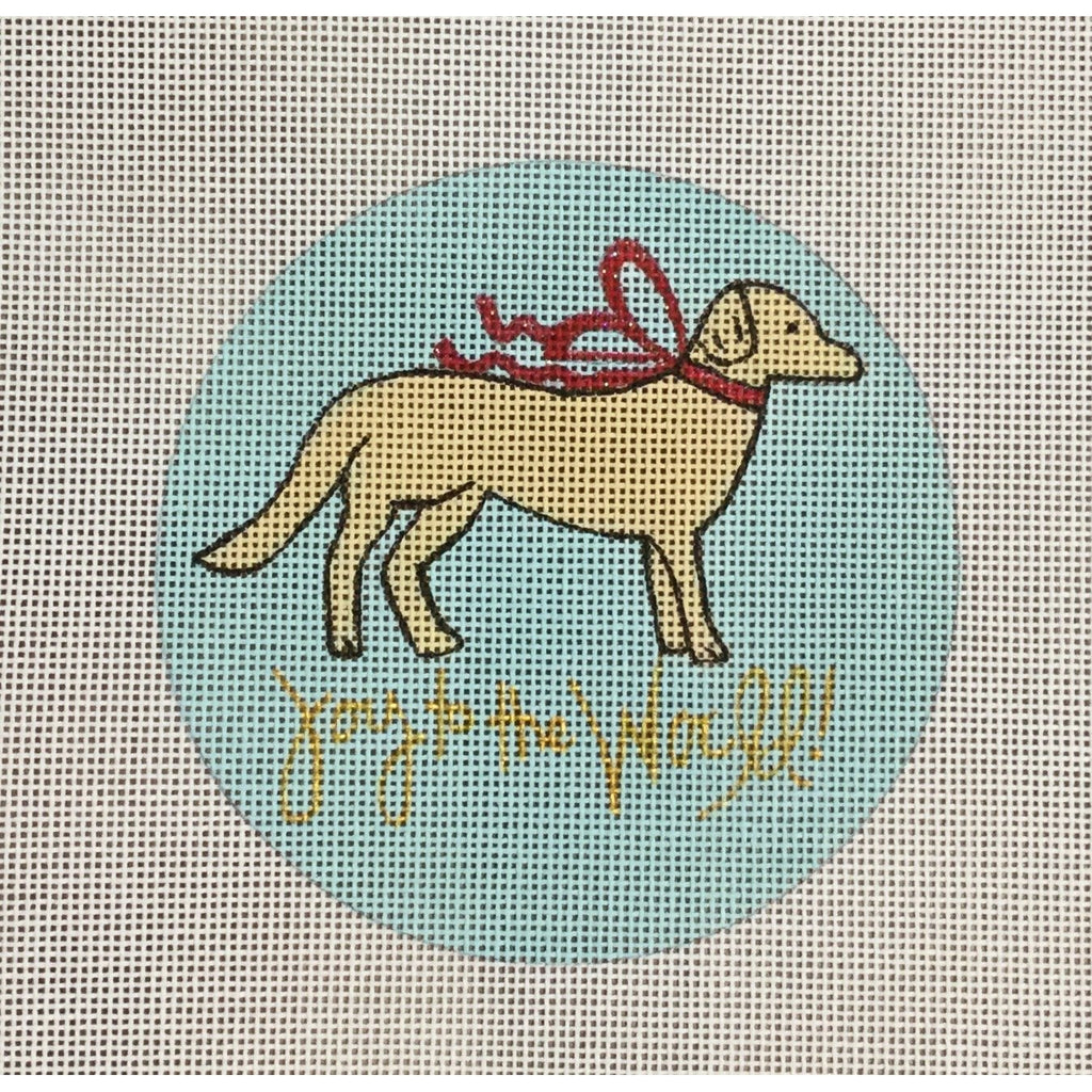 Joy to the World Dog Canvas-Needlepoint Canvas-A Poore Girl Paints-Golden-KC Needlepoint